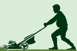 Cutting grass with lawn mower